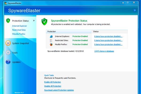programa antimalware y antispyware SpywareBlaster
