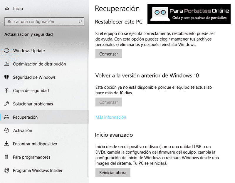 Recuperación Windows