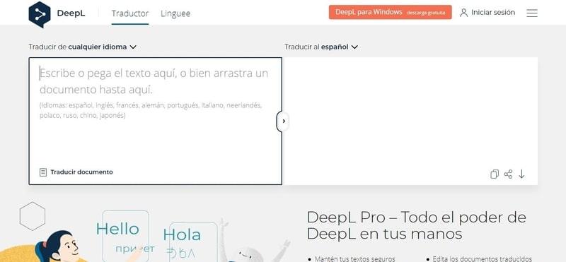 Captura de pantalla de DeepL