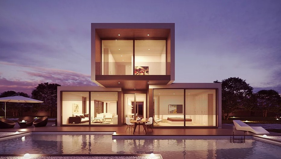 Casa en 3D con diseño minimalista