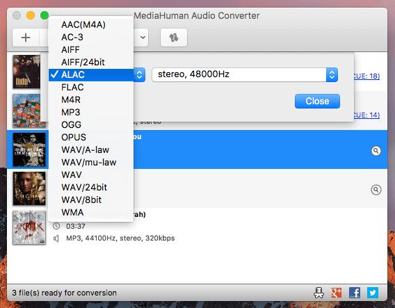 Programa de audio gratuito llamado Mediahuman Audio Converter