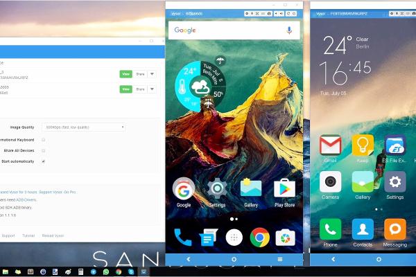 Imagen de tres pantallas de un movil de la app Vysor